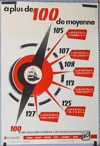 AFFICHE-ANCIENNE-SNCF-1956-A-PLUS-DE-100-DE-MOYENNE-FRENCH-RAILWAYS