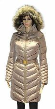 Michael Kors Faux Fur Hood Belted Down Puffer Coat TRUFFLE JACKET SZ LARGE
