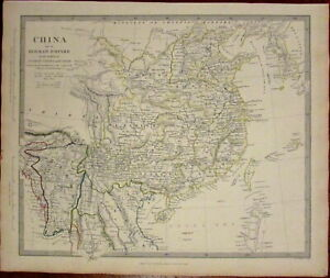 China-Myanmar-Laos-Yunnan-Hainan-Korea-Burma-c-1834-SDUK-detailed-Walker-map