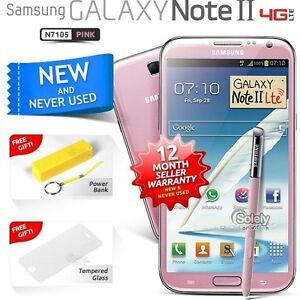 New-Sealed-Unlocked-Samsung-Galaxy-Note-2-N7105-Pink-4G-LTE-Android-Smartphone