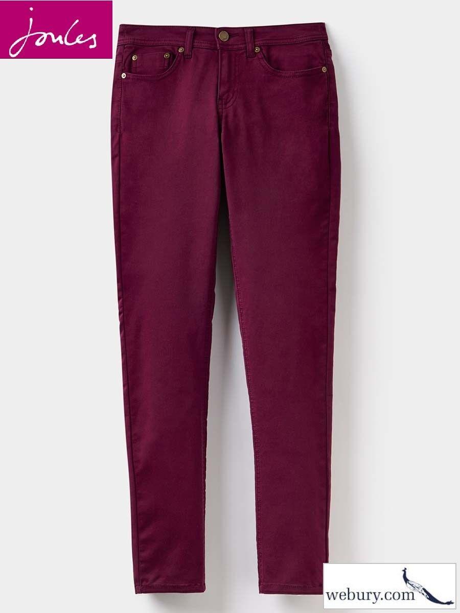 Joules Monroe Ladies Burgundy Super Skinny Fit Jeans - Sizes