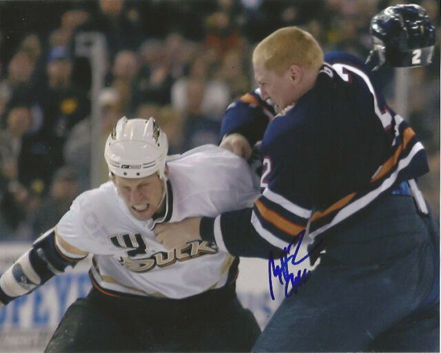 Edmonton Oilers Matt Greene Fight Signed Autographed 8x10 Photo COA