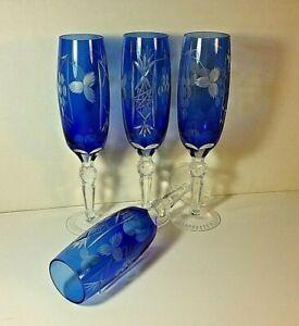 Vintage-Etched-Cobalt-Blue-Champagne-Glasses-set-of-4-Poland