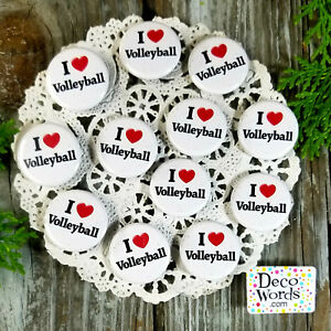 12-Volleyball-Pins-1-1-4-034-PINBACK-Buttons-Award-Party-Favors-USA-NEW-DecoWords