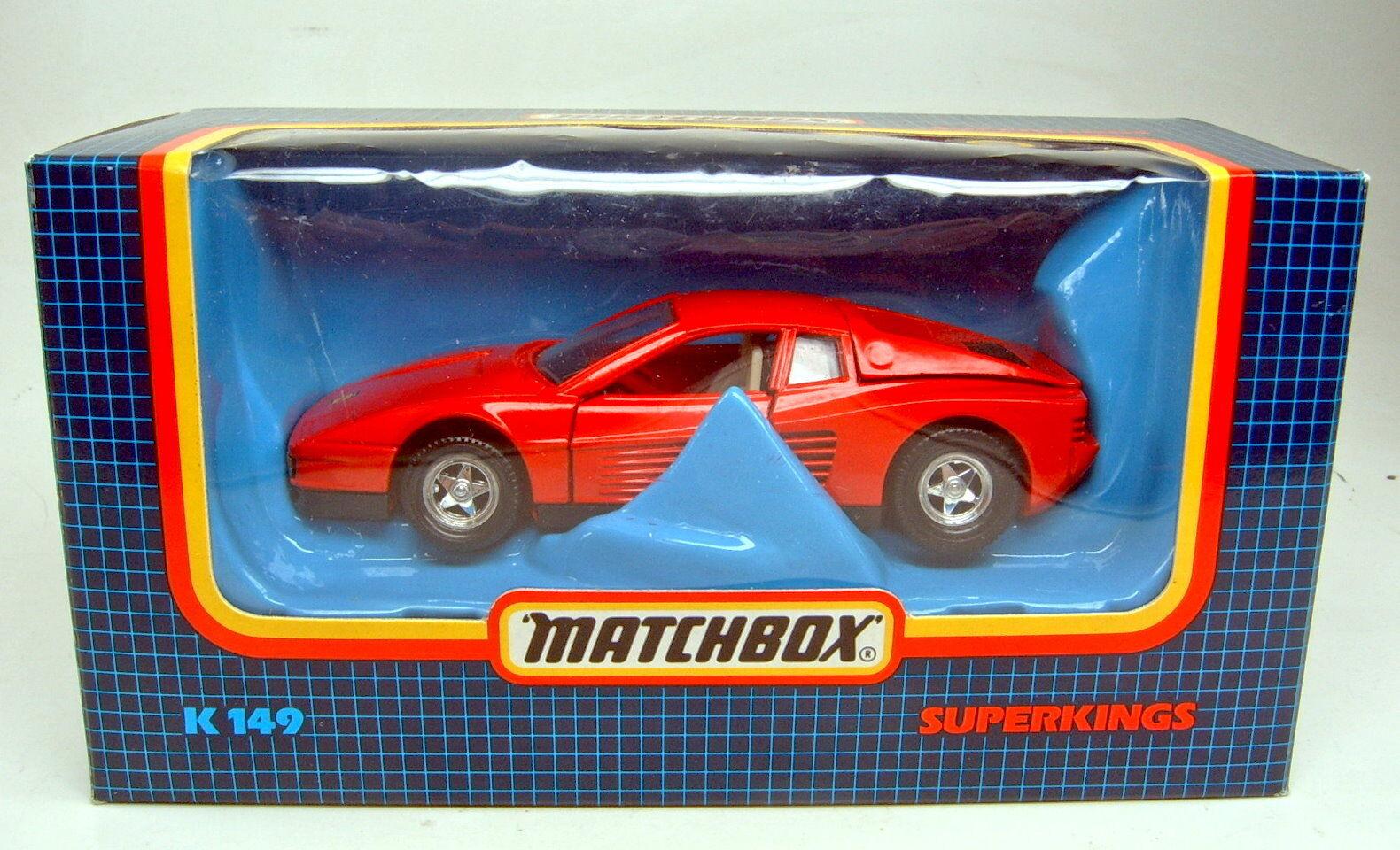 Matchbox Superking Superking Superking K-149 Ferrari Testarossa red top in Box 72f3f4