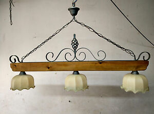 Lampadario Rustico In Ferro Battuto : Lampadario rustico in ferro battuto e legno vetro mod bilanciere