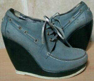 EUC BALENCIAGA PARIS womens Topsiders-style 2-tone leather platform booties sz39