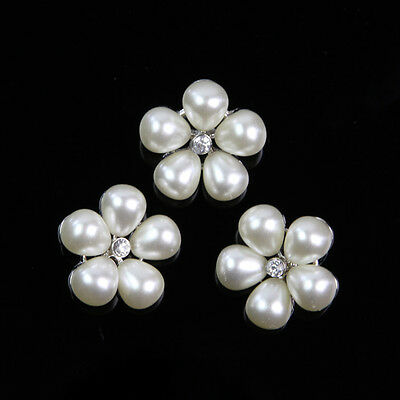5 Pcs Flower Faux Pearl Shank Clear Rhinestone Buttons 22 mm Sewing Craft