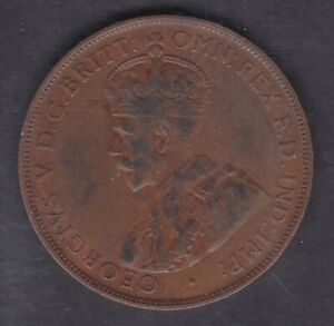 CB1391-Australia-1925-Penny-nice-problem-free-AVF-coin-6-pearls-visible