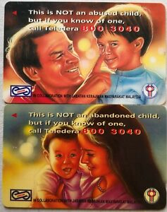 Malaysia Used Phone Cards - 2 pcs Abused and Abandoned Child