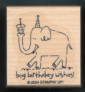 Details About ELEPHANT CUPCAKE Big Birthday Wishes Gift Tag Words STAMPIN UP RUBBER STAMP