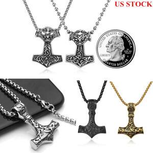 Men-Nordic-Viking-Mjolnir-Pendant-Steel-Myth-Thor-039-s-Hammer-Norse-Necklace-GIFT