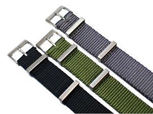 Nylon-Uhrenarmband-Edelstahl-Dornschliesse-20mm-Textil-Armband-Militaer-Uhr-Band