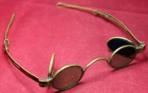 Kern-Brass-Spectacles-w-Telescoping-Arms-amp-Hinged-Shaded-Lenses-Glasses