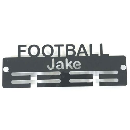 Personalised Football Medal Hanger - Many Colour Choices - Includes Fixings