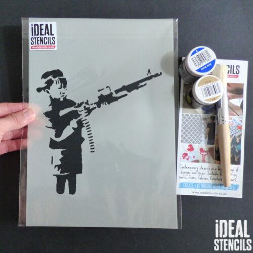 Banksy Schablone Jungen Maschine Pistole Wandfarbe Stoffe Graffiti Wieder Kunst
