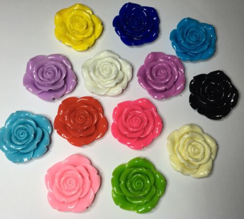 Mixed Colours 42mm 4 x Extra Large Resin Flowers Crafts