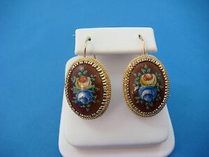 !UNIQUE 14K YELLOW GOLD HAND PAINTED VINTAGE DANGLE EARRINGS 8.4 GRAMS