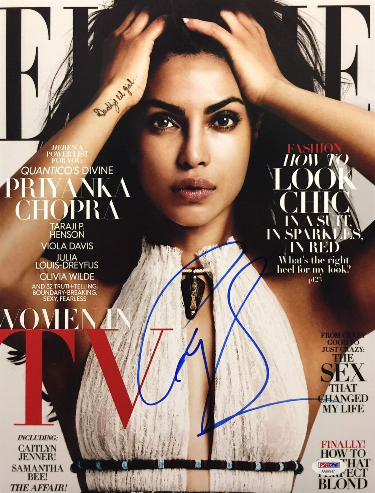 Priyanka Chopra Signed Elle Magazine 11x14 Photo *Model PSA AA84947