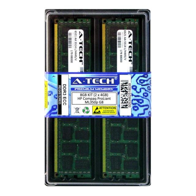 Kit de 8GB 2 X 4GB HP Compaq ProLiant ML350p G8 DDR3 PC3-10600R Memoria Ram error-correcting código Reg