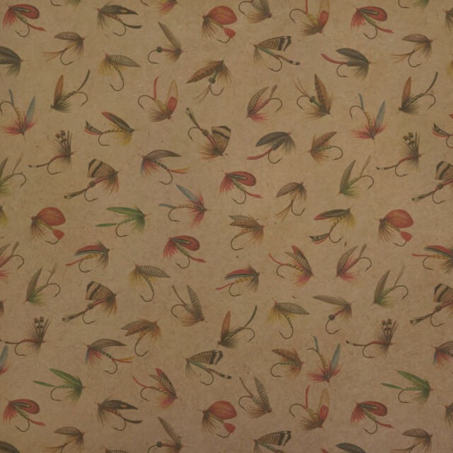 Trout Stream Fish Fly Fishing Rod Reel Kraft Roll Gift Wrap Wrapping Paper