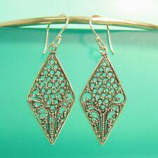 """1 1/4"""" 925 Sterling Silver Handmade Dangle Diamond Filigree Handmade Earrings"""