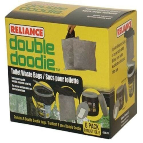 Double Doodie Toilet Waste Bag 6 Pack Waste Disposal Portable Camp Toilets Bags