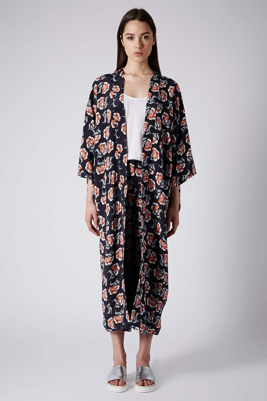 Topshop by Boutique Floral Navy Blau Silk Kimono Top