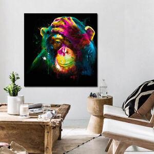 Image Is Loading Colorful Orangutan Retro Prints Art Picture Frameless Canvas