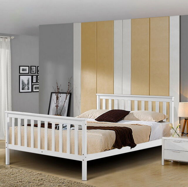 Double Wooden Bed Frame White 4ft6 Bedroom Pine Wood Furniture