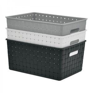 kunststoff aufbewahrungsboxen k rbe in flechtoptik in unterschiedlichen gr en ebay. Black Bedroom Furniture Sets. Home Design Ideas