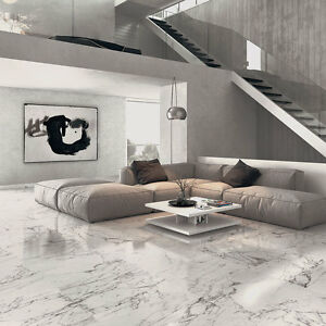 Arabescato Veined White Marble Effect Polished Porcelain Floor Tile ...