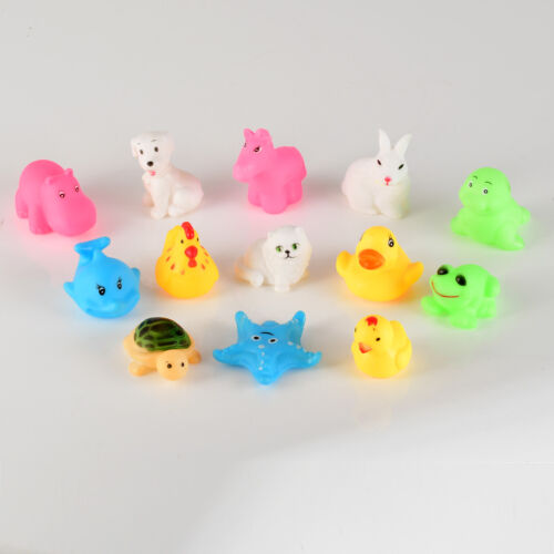 13PCS Baby Kids Bathing Tub Squeaky Toys Rubber Ducky Race Ducks Yellow Shower