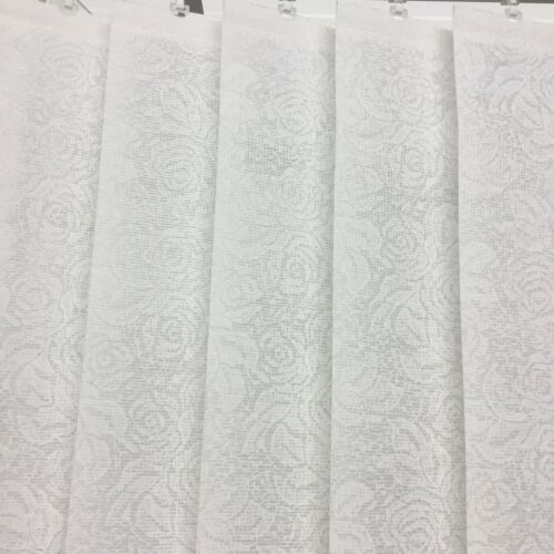 White Rose Lace WASHABLE 89mm Vertical Blind Replacement Louvre//Slats