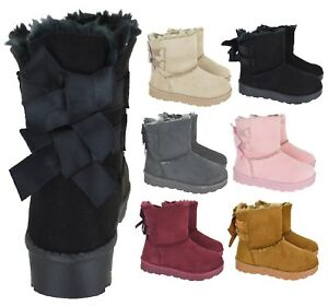 Girls Fur Lined Flat Snugg Fashion Ankle Boots Black Chestnut Diamante detail