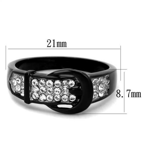 HCJ WOMEN/'S STAINLESS STEEL BELT BUCKLE BLACK PAVE CRYSTAL RING SIZE 8 9