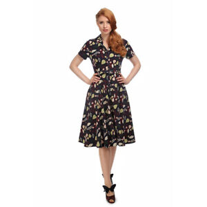 286f70694ce17 Image is loading Collectif-Vintage-Navy-Caterina-Woodland-Leaves-Swing-Dress -