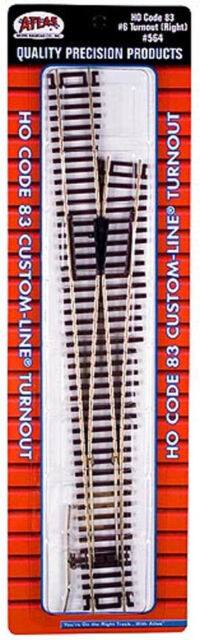 Atlas HO Scale Code 83 #6 Custom Right-Hand Turnout/Switch Model Train Track