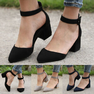 Women-Mid-Block-Heels-Ankle-Strap-Sandals-Lady-Point-Toe-Work-Party-Casual-Shoes