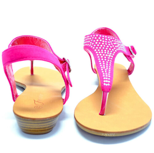 New women/'s shoes sandals t strap buckle closure casual party open toe fuchsia