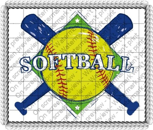 Softball Background ~ Frosting Sheet Cake Topper ~ Edible ~ D20699