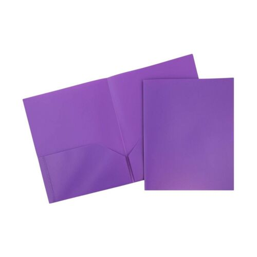 Purple 6//Pack JAM PAPER Plastic 2 Pocket School POP Folders