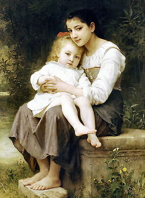 8x10 Print c19th Victorian Children Barefoot Peasant Girl Big Sister Baby Sister