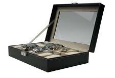 12 Slot Leather Watch Box Display Case Organizer Glass Top Jewelry Case w/ Lock