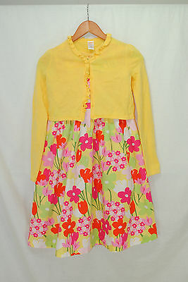 Gymboree Tea Time Afternoon Girls Size 12 Dress Sweater 2 pc Outfit Yellow Pink
