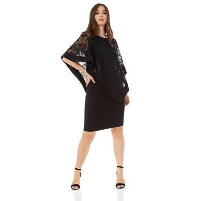 114557d29e024 Roman Originals Women s Sequin Lace Boat Neck Overlay Knee Length Dress