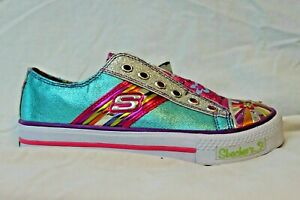 Skechers Sporty Shorty Light Up Casual Shoes Girls 3 Teal