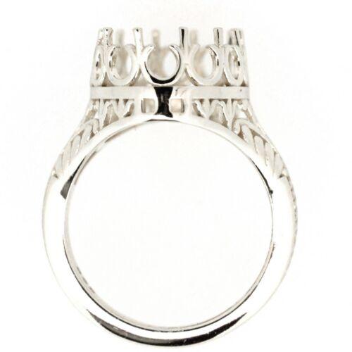 Sterling Silver Semi Mount Ring Setting Oval Cut OV 16x12mm Size 7