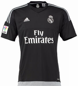 promo code ea0c0 2b0cf Details about ADIDAS REAL MADRID YOUTH GOALKEEPER HOME JERSEY 2015/16