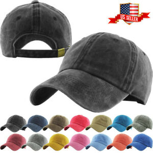 Pigment-Washed-Cotton-Cap-Baseball-Caps-Hat-Adjustable-Polo-Style-Plain-Solid